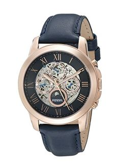 Fossil Mens Grant Automatic Watch With Blue Leather Band -- Continue to the product at the image link. Fossil Watches For Men, Cool Watches, Skeleton Watches, Women Brands, Watch Sale, Automatic Watch, Chronograph, Band, Stuff To Buy