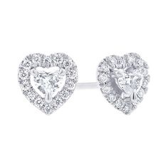 583700b44 Petite Fancy Halo Heart Diamond Earrings Steven Singer Jewelers