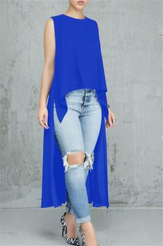 Women Blue Slit Sleeveless Casual High Low Blouse - S Casual Outfits, Cute Outfits, Fashion Outfits, Cheap Button Down Shirts, Diy Vetement, Blouses For Women, Plus Size Fashion, Women Wear, High Low