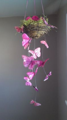 Even though i dont have a baby girl.. this is still so pretty for a mobile! Had to share! Enchanted Butterfly Garden Baby Mobile