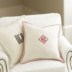 Wool Whipstitch Pillow with Insert | Ballard Designs; Linen with red trim & down insert ($45)