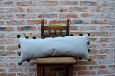 XL Washed Cotton Pillow Rustic Cushion Merino Wool Pompom