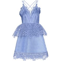 Self-Portrait Lace-Trimmed Pemplum Dress ($405) ❤ liked on Polyvore featuring dresses, blue, blue cocktail dress, blue dress and lace trim dress