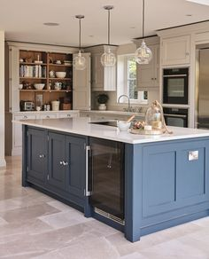 This blue shaker kitchen has been designed with family in mind, full of state of. - This blue shaker kitchen has been designed with family in mind, full of state of the art appliances - Kitchen Design Trends 2018, Best Kitchen Designs, Modern Farmhouse Kitchens, Home Kitchens, Blue Shaker Kitchen, Blue Country Kitchen, Americana Kitchen, Blue Kitchen Island, Tom Howley Kitchens