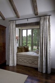 Bay Window Couch cozy up a bay window with pretty curtains an upholstered seat