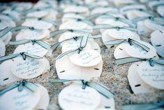 sand dollar ribbon escort cards