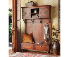 Wooden Bench or Entryway Hall Tree - http://burgerjointdc.com/wooden-bench-or-entryway-hall-tree/