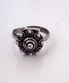 Verstelbare ring zeeuwse knop, met bijpassende ketting en oorbellen