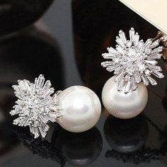 These Pearl Earrings with Crystals Clusters are sure to turn heads! In your choice of Platinum or Rose Gold, these earrings feature Round Freshwater Pearls set below stunning floral inspired Clusters Pearl Stud Earrings, Pearl Studs, Pearl Jewelry, Crystal Earrings, Bridal Jewelry, Diamond Earrings, Silver Earrings, Gold Jewelry, Jewellery Box