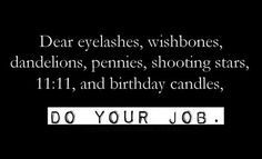 Dear eyelashes, wishbones, damdelions, pennies, shooting stars, 11:11, and birthday candles, DO YOUR JOB.
