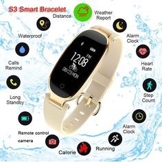 Bluetooth Waterproof Smart Watch Fashion Women Ladies Heart Rate Monitor Fitness Tracker Smartwatch 2018 For Android IOS Bracelet Sport, Smart Bracelet, Bracelet Intelligent, Smart Watch Review, Apple Watch Fashion, Best Smart Watches, Running Watch, Swiss Army Watches, Moda Casual