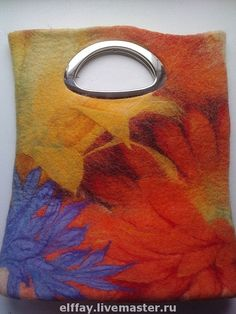 "purse from another fabulous Russian felter, Tatiana Amirkhanova ""Colors of Summer"" Nuno Felting, Needle Felting, Felt Phone Cases, Felt Pictures, Felt Purse, Textile Fiber Art, Wool Art, Wool Applique, Felt Art"