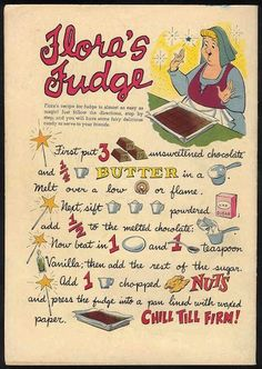Flora's Fudge - recipe from 1958 Sleeping Beauty comic