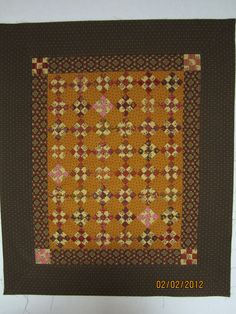 """Framed,"" a Jo Morton inspired quilt Backing A Quilt, Quilt Blocks, Small Quilt Projects, Quilting Projects, Patchwork Quilting, Quilting Patterns, Shoo Fly, Yellow Quilts, Quilted Gifts"