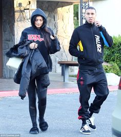 Casual cool: Kylie Jenner and Tyga were spotted leaving lunch at Yamato in Encino on Sunday
