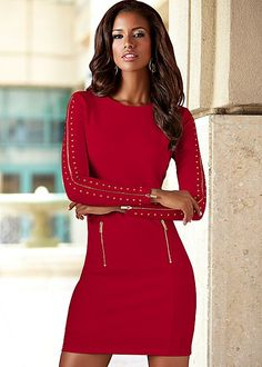 Zipper detail sheath in the VENUS Line of Dresses for Women