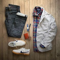 Outfit grid - White jacket & checks