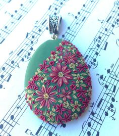 Polymer Clay -Christmas Color Pendant