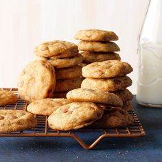 Cinnamon Chip Chai-Spiced Snickerdoodles - Taste of Home Fall Cookies, Spice Cookies, Chip Cookies, Christmas Cookies, Christmas Treats, Fall Desserts, Cookie Desserts, Dessert Recipes, Chai