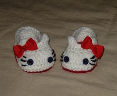 #Crochet Pattern: Baby Girl Hello Kitty Slippers, Sizes for Premee, Baby and Toddler $3.99