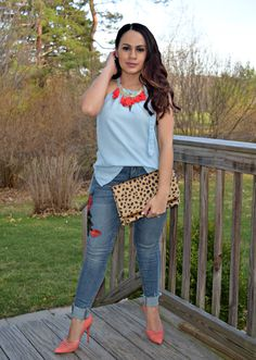 Embroidered Jeans and a Tassel Necklace