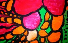 Draw the outline first and then paint - Abstract Expressionism: 2nd Grade