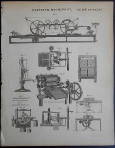 1820 Mechanical Printing Press Engraving: Original Antique Print of Machinery.