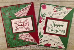 DIY handmade cards using the This Christmas Designer Series Paper (DSP) and the Oh, What Fun Stamp Set. Plus, I have used the Christmas Pines Stamp Set from the Stampin' Up! Holiday catalog. This is a Clean and Simple fun fold card.