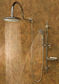 The Aqua Rain shower system replaces your existing shower head with an oversized rain shower head, adjustable slide bar with soap dish and multi-function hand s