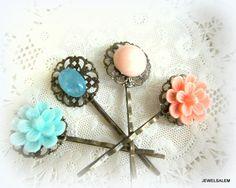 Hair Pins Pink Peach Pink Coral Aqua Blue Mint Vintage Style Wedding Flower Bobby Pin Floral Bridal Hair Pins Set of 4 Bridesmaid Gift