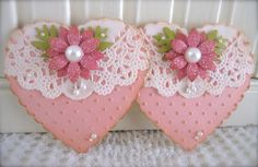 Valentine Vintage Pink Glitter Flower Heart with Paper Lace Doily Embellishments set of 2