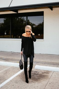 (no off-shoulder sweater though) oversized sweater, leather pants, over the knee boots