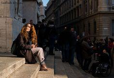 Womenswear Street Style by Ángel Robles. Fashion Photography from Milan Fashion Week. Camila Falquez after Salvatore Ferragamo show, Piazza Affari, Milano.