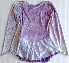 Metallic Velvet Rhinestone Figure Skating Dance Dress Leotard Girls Size L #Unbranded