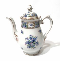 Schumann Bavaria Coffee Pot Mini Forget Me Not Flowers Blue Floral With Gold Trim Embossed Design Made In Bavaria Germany Vintage
