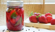 Pickled Strawberries w/ Black Pepper & Thyme (agave in place of honey)