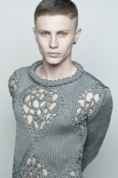 gorgeous knitted sweater with crochet motifs (or tatting? or cro-tatting? or Irish crochet?)