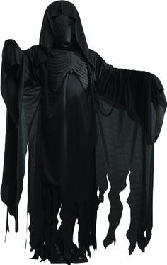 Harry Potter Dementor Adult Costume - Includes Black character mask and long black robe with chest piece. Available in one size Adult Standard (up to a size Dementor Hands not included. This is an officially licensed Harry Potter costume. Halloween Noir, Halloween Dress, Halloween Costumes For Kids, Adult Costumes, Halloween 2017, Men's Costumes, Holiday Costumes, Pirate Costumes, Family Costumes