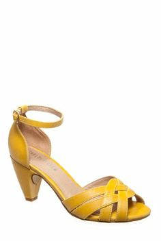 Yellow Mid Heel Sandals | Tsaa Heel