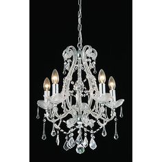 Illuminate your home with this majestic crystal 5-light chandelier. Featuring a high-gloss, silver finish and multiple dangling crystals, this item will bring a look of classical style to any place you choose to hang it. It uses five 60-watt bulbs.