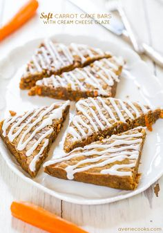 Soft Carrot Cake Bars with Cream Cheese Glaze - Super soft bars that taste like blondies packed with chewy carrots! So good & a must-make!
