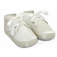 Baby Unisex Christening Shoes in White with Lace (Special Occasions) for Boy and Girl