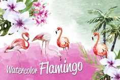 Tropic flamingo watercolor set by Watercolor Gallery on Creative Market