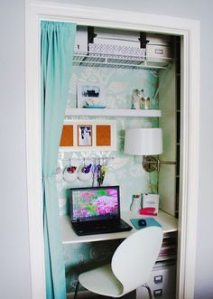 Closet converted into small office/desk space For Ariel's room <3