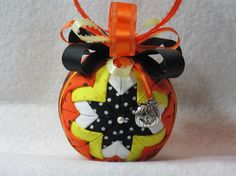 Quilted Halloween Ornament no sew orange by KCFabricOrnaments, $15.00