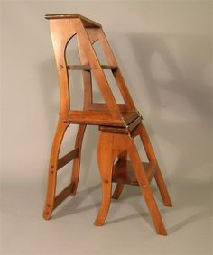 Library Chair Converts to Ladder. Ladder section has 4 steps and stands tall, top step has scuff marks all around. on May 2004 Library Chair, Library Ladder, Diy Stool, Stool Chair, Ladder Chair, Chair Design Wooden, House Cleaning Checklist, Kitchen Helper, Diy Furniture