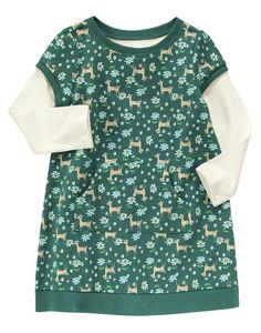 Comfy and cute terry style with tiny deer and fun pockets.