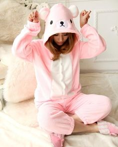 NEW 2016 Adult Rilakkuma Costume Onesies Pink Relax Bear Cosplay Pajamas  Jumpsuit Animal Sleepwear One Piece Halloween Costume a3e2b6712