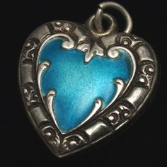 Puffy Heart Charm Vintage Sterling Silver Enamel Engraved Lee or Lem | eBay