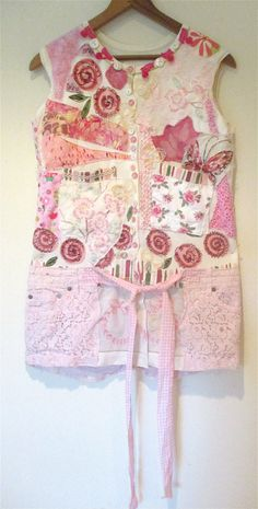 PINK DAISY MAE Wearable Folk Art COLLAGE Clothing Altered Random Scraps of Fabrics Tunic  upcycled  mybonny cannon beach